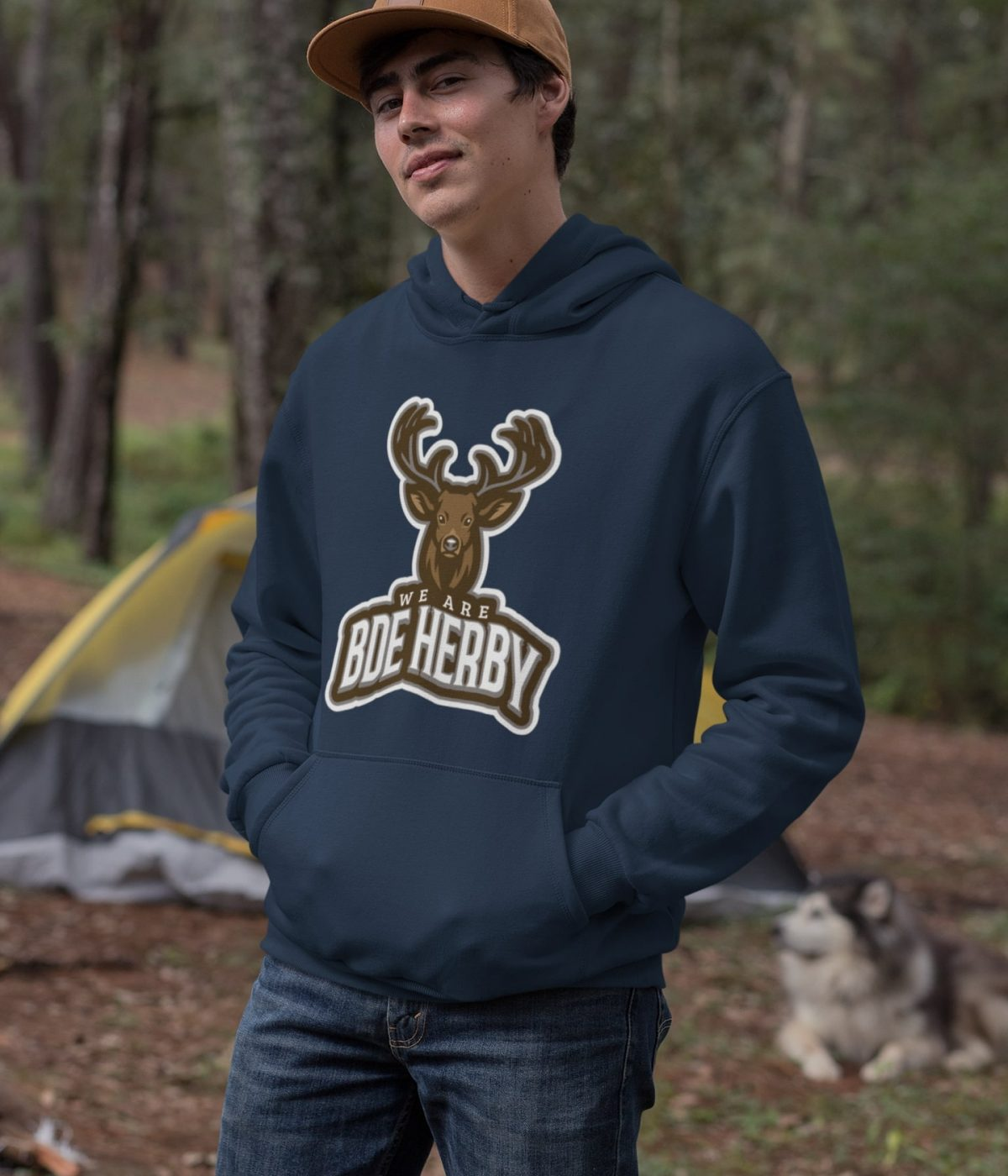 mockup-of-a-man-wearing-a-pullover-hoodie-in-the-woods-30482